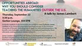 Poster advertising James Lambert's talk