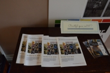 Symposium programs greet visitors to the exhibit at Old Capitol Museum