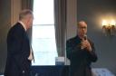 Co-organizer Glenn Ehrstine (German, CLAS) introduces keynote speaker Frank Trommler