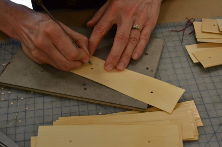 Inscribing palm leaf before inking the sheet, at the Mellon Sawyer palm-leaf manuscript workshop led by Jim Canary
