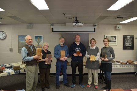 Mellon Sawyer organizers and lecturers display models of ancient Egyptian and Ethiopic books at the Mellon Sawyer bookbinding workshop (left to right: Gary Frost, Julia Miller, Tim Barrett, Paul Dilley, Katherine Tachau, Melissa Moreton)