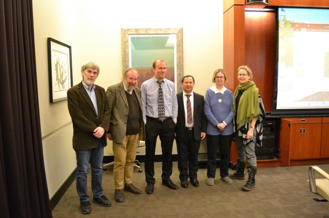 Mellon Sawyer organizers and visiting lecturers convene for lectures on ancient Chinese and Uygur manuscript culture (left to right: Tim Barrett, T.H. Barrett from SOAS, Paul Dilley, Uygur manuscripts expert Aburishid Yakup, Katherine Tachau, Melissa Moreton)