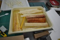 Papyrus stalks, stripped and soaking, during the Mellon Sawyer papyrus making workshop, led by Myriam Krutzsch of the Aegyptisches Museum, Berlin