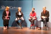 "Joan Kjaer, H. Glenn Penny, Lisa Heineman, and Glenn Ehrstine converse on International Programs' WorldCanvass program 3/8/17, ""Immigration Then and Now: From German Iowa to Today's Refugees."""